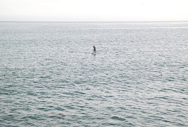 One person in large ocean, a picture of social isolation