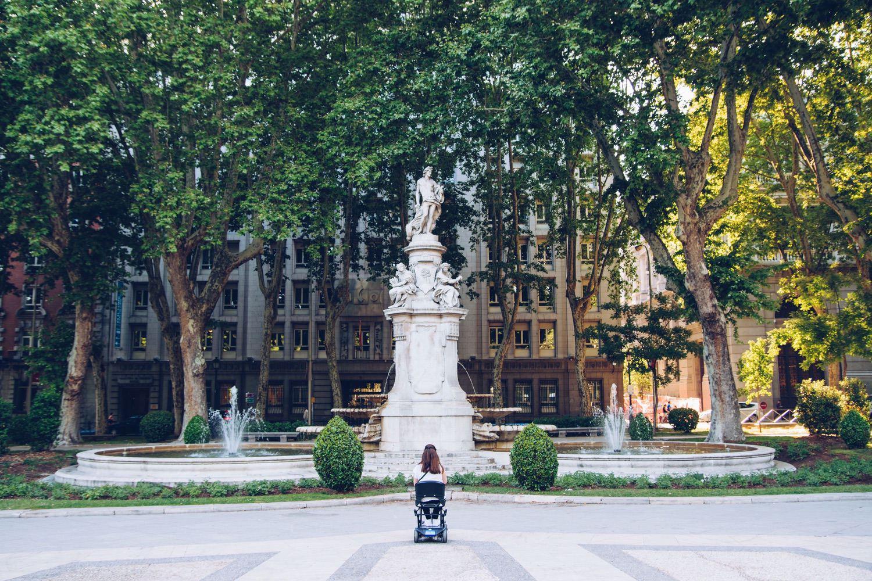 failing health woman wheelchair fountain